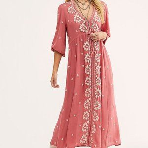 Free People Fable Medium Embroidered Maxi Dress